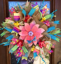 Spring and Summer flower wreath with dragonfly
