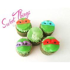 Ninja Turtle inspired cupcakes   sweetthingsbywendy.ca Cupcake Favors, Edible Favors, Party Favours, Cupcake Toppers, Cupcake Cakes, Cupcakes, Bake Sale, Ninja Turtles, Inspired