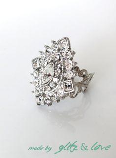 Sparkly Rhinestone Cocktail Ring