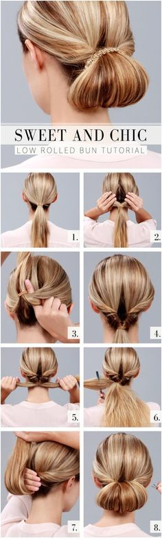 Sweet and Chic Everyday Hairstyles: Low Rolled Bun Tutorial http://www.jexshop.com/Hair-Extensions-Wigs