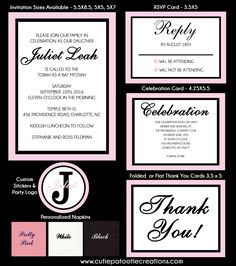 Paris Pink Invitation - Bat Mitzvah - Sweet 16 - Any Event by OneWhimsyChick on Etsy