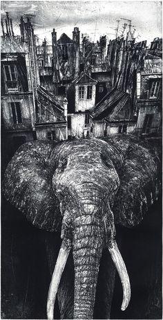 """Michael Goro; Copper Etching Plate, 2012, Printmaking """"L'éléphant de la Bastille"""""""