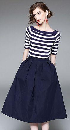 Fashion O-Neck Short Sleeve Fringe Knitting Stitching A-Line Dress