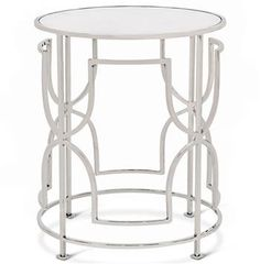 Glenda Hollywood Regency Round Nickel Antique Mirror Side Table. #kathykuohome