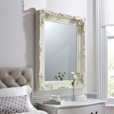 Buy Gallery Direct Carved Louis Cream Rectangular Mirror - x Online ✓ Free 2 Man Delivery ✓ Pay Deposit ✓ Price Beat Promise ✓ Happy Customers. French Mirror, Ornate Mirror, Mirror Mirror, Wall Mirrors, Bedroom Mirrors, Mirror Floor, Mirror Headboard, Master Bedroom, Large Mirrors
