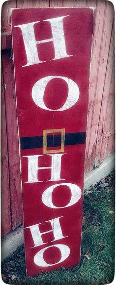 Rustic Santa sign! Wood Ho Ho Ho Sign for Porch | Rustic Christmas Sign | Santa Welcome Sign | Welcome porch Sign | Farmhouse Christmas Décor| Christmas porch sign, Christmas decor #ad