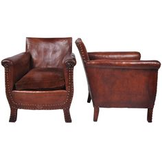 1stdibs | Pair of Leather Club Chairs