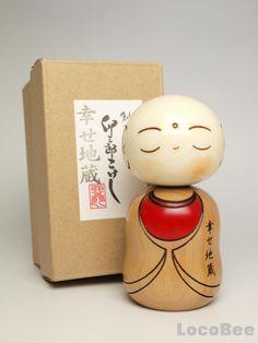 "Japanese Sousaku Kokeshi Doll by Usaburo / Shiawase Jizo ~ ""This is a Japanese Sosaku Kokeshi Doll desing by Usaburo Kokeshi. The tittle is Shiawase-Jizo,meaning Happy Jizo. Jizo generally is a guardian god for children in Japan. (originally mean a one of Buddhist saint.)"""