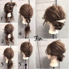 Summer hairstyles: rubber 3 pins 2 pins Divided into 2 upper and lower 2 . Summer Hairstyles, Up Hairstyles, Pretty Hairstyles, Simple Hairstyles, Curly Hair Braids, Curly Hair Styles, Hair Upstyles, Hair Arrange, Hair Setting