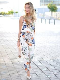Shop Multicolor Wrap Plunge Floral Print Cami Jumpsuit from choies.com .Free shipping Worldwide.$13.9