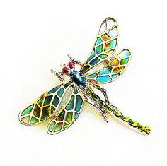 Dragonfly Plique A Jour Figural Brooch