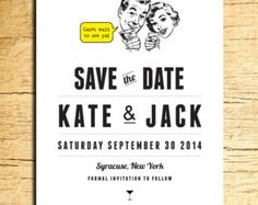 Retro Save the Date with 1950's Characters and Martini Glass Set of 10