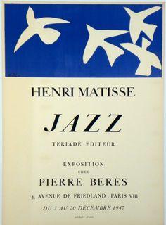 Original Künstler Plakat Matisse Original Artist Poster Matisse Affiche original Henri Matisse  title jazz  technology Color lithograph  format 63 x 45.5 cm