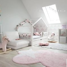 Na zdjęciu cudny pokoik dzięki któremu można się pięknie zainspirować:)… In the picture a wonderful room thanks to which you can be beautifully inspired:] 😍 right ? :] A housebed with a barrier fence and a drawer … Baby Bedroom, Baby Room Decor, Nursery Room, Girls Bedroom, Girl Nursery, Diy Toddler Bed, Toddler Rooms, Toddler Bedding Girl, Ideas Dormitorios