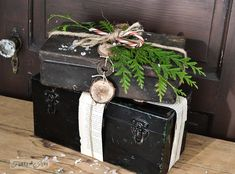 Rusty toolbox pretend Christmas presents via http://www.funkyjunkinteriors.net/