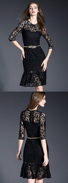 Black 3/4 Sleeve High Waist Lace Flounce Dress