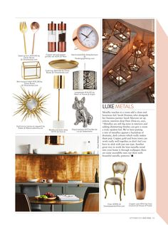 Irish Tatler - September 2015. Our metallic Copper Leaf decorative glass tiles take centre stage in this feature on the trend for copper interiors. Use a a splashback in the kitchen for a chic look.