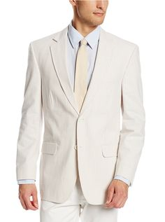 100% Combed Cotton. Tan and White Seersucker. 2 button, notch lapel, side vent, half lined. 7257-F48HL TAN/WHITE BROCK SC