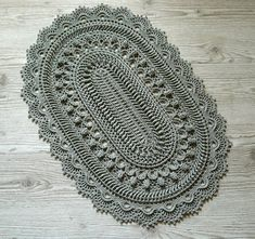 Oval crochet doily Large gray doily Cotton doily table   Etsy Crochet Doilies, Modern Interior, Rugs On Carpet, Gray, Unique Jewelry, Handmade Gifts, Table, Cotton, Vintage