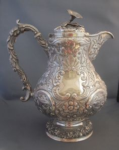 Sterling silver William IV coffee pot.