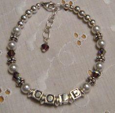 Personalized Name Bracelet Mothers Bracelet by JulieEllisDesigns