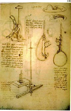 Automatic release system designed by Leonardo da Vinci (Codex Madrid I, f.19.v)