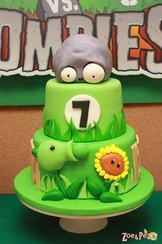 puppys first birthday Zombie Birthday Cakes, Zombie Birthday Parties, Zombie Party, Birthday Fun, Birthday Ideas, Plants Vs Zombies, Zombies Vs, Plantas Versus Zombies, Plant Zombie