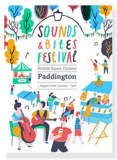 Tourist got in touch to commission me to create colourful, summery illustrations and hand drawn type for a festival poster. Sounds and Bites Festival was a one day food and music extravaganza, held in Norfolk Square Gardens, Paddington. Part of. Musikfestival Poster, Music Poster, Poster Layout, Poster Ideas, Creative Poster Design, Creative Posters, Graphic Design Posters, Graphic Design Inspiration, Website Design