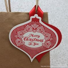 Welcome back to Day 20 of 25 Days of Christmas Tags! Today I have the lovely Laurie Willison from Soapbox Creations joining me a. 25 Days Of Christmas, Christmas Bags, Handmade Christmas, Christmas Ornaments, Christmas Ideas, Xmas, Wine Tags, Holiday Gift Tags, Craft Show Ideas