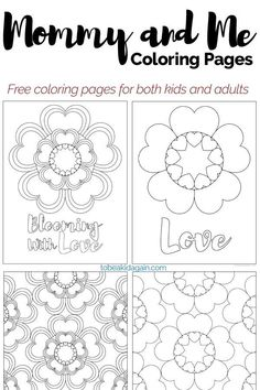 Mommy and Me Coloring Pages: Heart Flowers for Valentines Day and Beyond! - To be a Kid Again