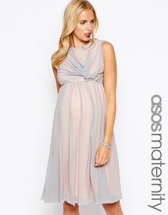 ASOS+Maternity+Exclusive+Midi+Skater+Dress+With+Twist+Front+In+Mesh+With+Contrast+Lining