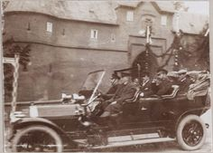 The tsar taking a drive with his brother-in-law Ernst Ludwig and his two eldest daughters: Germany, 1910 : the Castle of Friedberg February Revolution, Familia Romanov, Empire, Grand Duchess Olga, House Of Romanov, Princess Alice, Tsar Nicholas Ii, Imperial Russia, Russian Art
