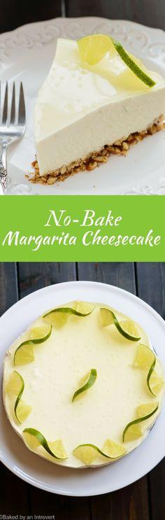 Margarita Cheesecake | No Bake | Dessert | via @introvertbaker
