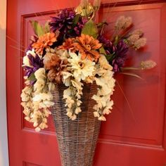 Decorating Front Door with an Autumn Fall Basket 6