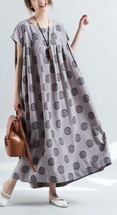 e66ab229c0e2 Elegant short sleeve o neck cotton clothes pattern gray dotted Plus Size  Dress summer