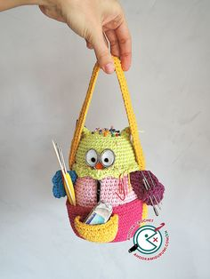 PDF PATTERN : Owlivia, the crochet Owlganizer amigurumi pattern - crochet storage - crochet organizer - crochet supplies holder stationary Crochet Owls, Crochet Patterns Amigurumi, Crochet Gifts, Amigurumi Doll, Free Crochet, Crochet Organizer, Crochet Storage, Half Double Crochet, Single Crochet