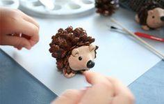 cute kid craft--pinecone hedgehogs