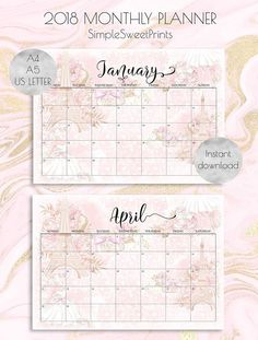2018 monthly planner pages on Etsy!