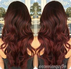 21 Trendy Hair Colors: #10. Dark Brown to Marsala Ombre Hair