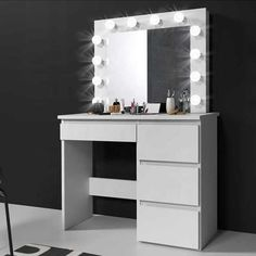 Source Makeup Vanity Dressing Table Dresser Desk with LED Lights and Large Drawer for Bedroom,White on m.alibaba.com Dressing Table Mirror Design, Dressing Table Lights, Furniture Dressing Table, Dressing Room Design, Dressing Table Set, Room Design Bedroom, Room Ideas Bedroom, Bedroom Decor, Dressing Table Inspiration