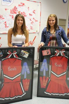 Shadow box idea: Not a cheerleader but could do a SPURS one! PT jacket, scarfs, name tag & a few pictures.