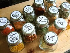 hand written spice labels