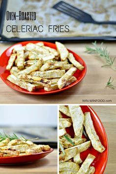 Celeriac Fries | WIN-WINFOOD.com Oven-roasted celeriac fries are a lower carbohydrate flavorful twist on the popular potato-based side dish. #vegan #healthy #paleo #glutenfree #cleaneating
