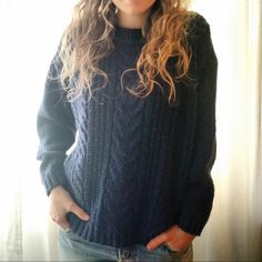 Vintage Cable Knit Sweater Navy blue cable knit sweater by Forenza. Nice and cozy fit! Vintage Sweaters Crew & Scoop Necks