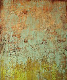 """Earth Below"" 20x24, plaster/paint/glaze on panel by Debra Corbett available from a Scottsdale art gallery - The Marshall | LeKAE Gallery of Fine Art"