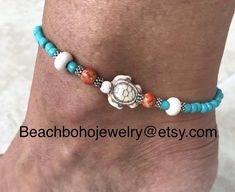 cute turtle ankle bracelet for women is made with a white howlite turtle stone, white howlite beads, orange glass beads, and turquoise glass beads. Ankle bracelet comes in several sizes, just choose your size from the drop down menu at checkout. Mary Johnson, Beach Jewelry, Jewelry Gifts, Diy Jewelry, Jewelry Making, Style Surfer, Beachy Bracelets, Ankle Jewelry, Feet Jewelry