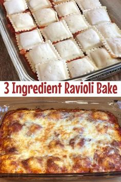 This 3 ingredient meal is super quick and easy and It s made with simple and cheap ingredients Throw it together on busy weeknights Even the kids love this dinner recipe Baked Ravioli A K A Lazy Lasagna 3 Ingredient Dinners, 3 Ingredient Recipes, Baked Dinner Recipes, Gourmet Recipes, Easy Recipes, Healthy Recipes, Easy Baked Ravioli Recipe, Frozen Ravioli Recipes, Frozen Ravioli Bake