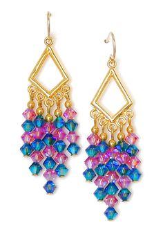Pink & Blue Crystal Chandelier Earrings
