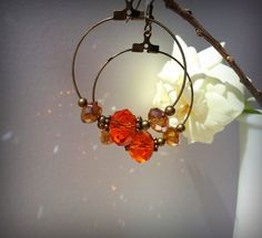 Orange Crystal and Bronze Hoop  Earrings FREE by misspicasso, $15.00