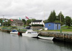 There is a pretty canal in Cupids, Newfoundland. The canal was lined with boats and charming, colourful houses.